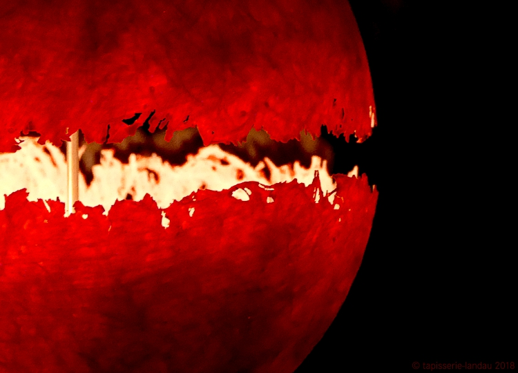 tapisserie landau lampe licht rot